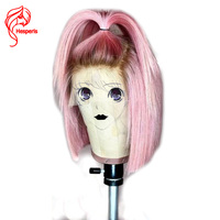 Hesperis Pink Human Hair Wig 613 Bob Wig Pre Plucked Glueless Full Lace Human Hair Wigs Brazilian Virgin Hair Short Lace Wigs