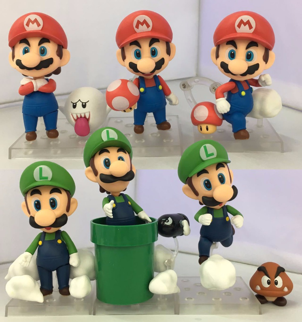 EMS Shipping 12 sets Cute Super Mario Game Mario Luigi Brothers Set PVC Action Figure Collection Model Dolls Toy (3pcs per set) free shipping cute 4 nendoroid luck star izumi konata pvc action figure set model collection toy 27 mnfg032