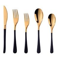 Black Gold Dinnerware Set 304 Stainless Steel Western Cutlery Set Kitchen Food Tableware Golden Dinner Flatware Set