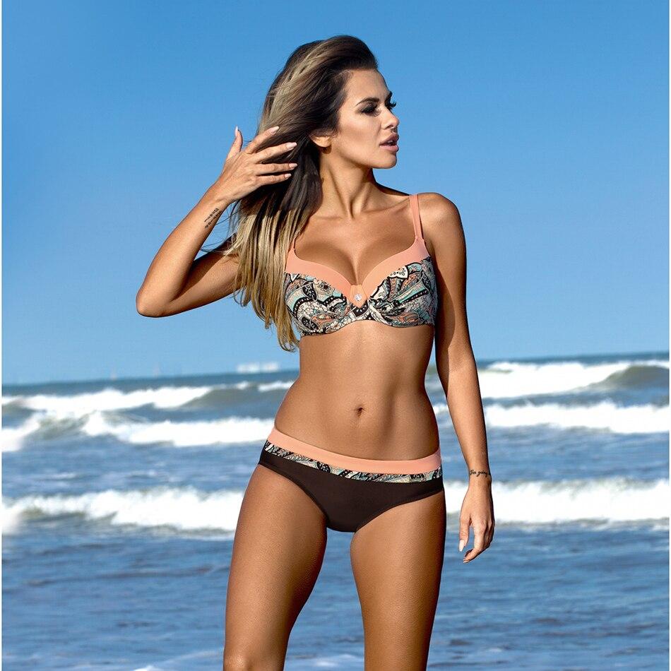 2018 Sexy Push Up Bikini Women Swimsuit Plus Size Swimwear Print Patchwork Bikini Set Bathing Suit Beach Wear Swimming Suit