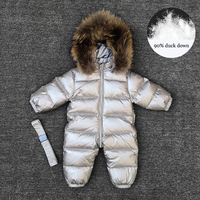 2019 Winter Kids Boys Rompers Real Fur Duck Down Baby Girls Jumpsuit Sport Snow Children Outerwear Waterproof Toddler Outfits