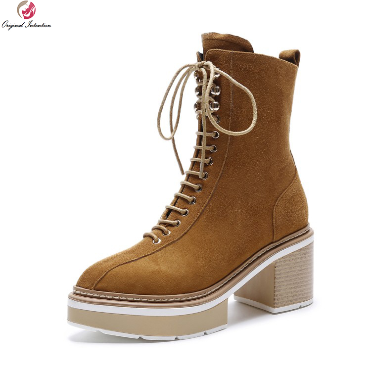 Original Intention Fashion Women Ankle Boots Pointed Toe Square Heels Boots Cow leather/ Kid Suede Shoes Woman US Size 4-10.5 hot sale black khaki cow suede leather zip fashion women boots round toe thin heels ankle shoes woman c019 2