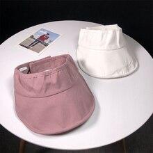 HT1807 New Fashion Women Summer Sun Caps Solid Plain Ladies Visor High Quality Cotton Adjustable Packable Visors