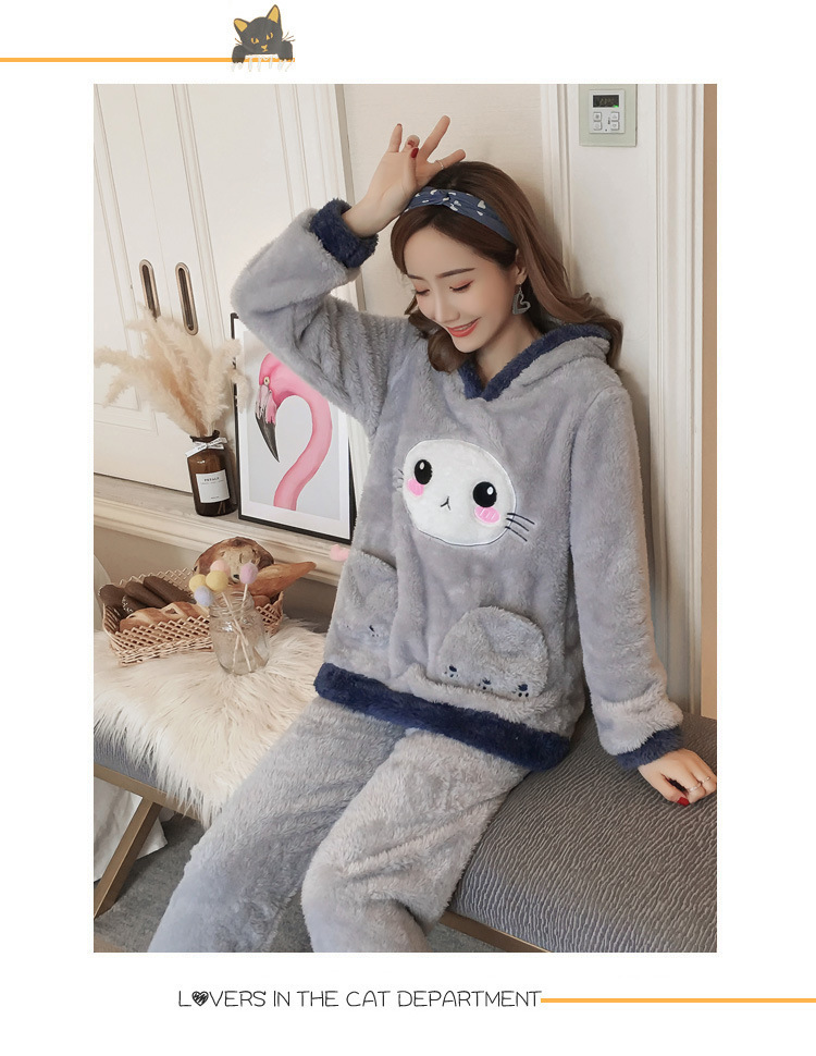 Winter Women Pajama Flannel Sleepwear Long Sleeves Hot Pajamas For Women Velvet Pajama Women Soft Clothing 81