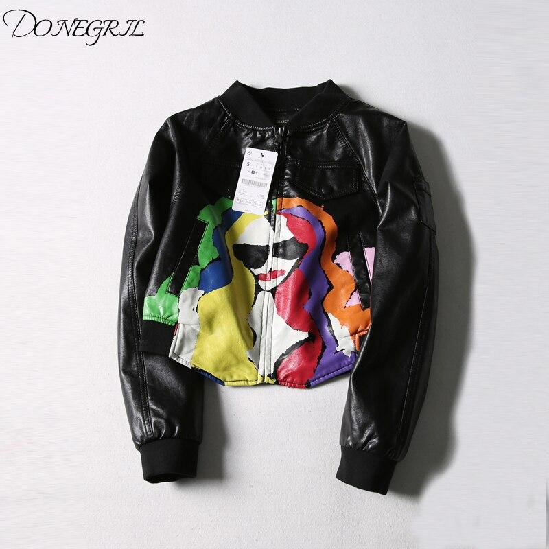 2018 autumn new Korean version of fashion Joker print bat sleeve PU   leather   jacket women's loose short long sleeved jacket