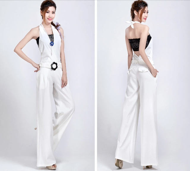 Hot 2015 spring European style women jumpsuit casual long romper pants hanging neck wide leg pants trousers female S-XXXL D3576