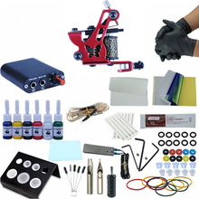 цены Beginner Complete Tattoo Kit 8 Wrap Coils Red Tattoo Gun Machines Grips Needles Tips Power Supply Permanent Makeup Tattoo set
