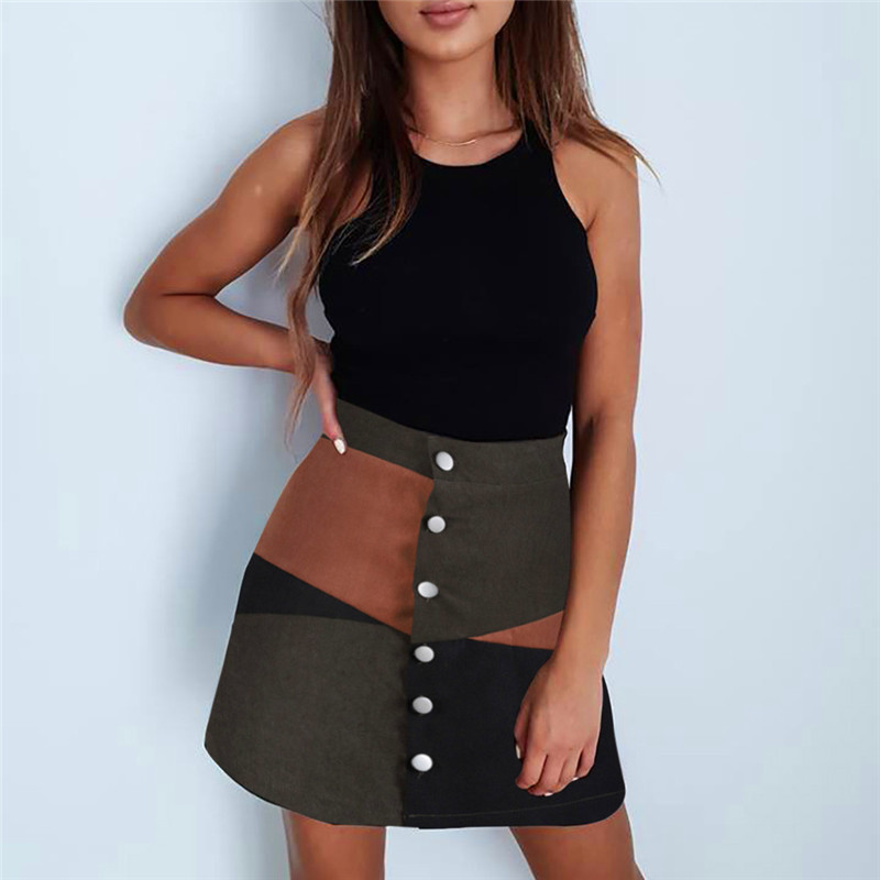 Fashion Women Casual Black Short Mini Skirt With Botton Fashion Polyester A-Line Patchwork Color Skirts For Women Autumn Summer