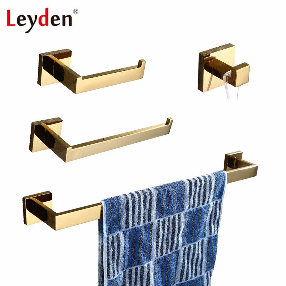 goede koop leyden golden 304 rvs 4 stks badkamer accessoires set enkele handdoek bar ring houder toiletrolhouder gewaad haak goedkoop