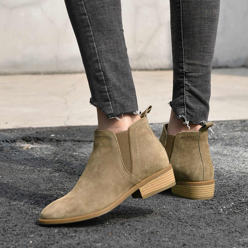 BeauToday Chelsea Çizmeler Kadın Ayak Bileği Uzunluğu Marka Çizme Kaliteli Süet Deri Yuvarlak Ayak Bayan Ayakkabı El Yapımı 03232