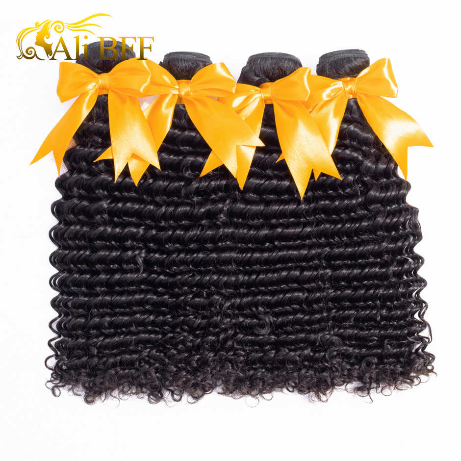 ALI BFF Hair Brazilian Hair Weave Bundles With Closure 3 Bundle With Lace Closure Remy Human Hair Deep Wave Bundles With Closure
