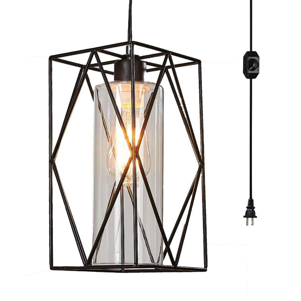 Ganeed Plug in Pendant Lights with Glass Lamp Shade,Vintage Industrial Metal Hanging Light for Kitchen Island Dining Table