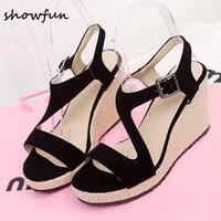 3 color plus size 33 43 women's flock wedge platform sandals brand designer Open Toe Summer Leisure High Heel Sandalias Shoes