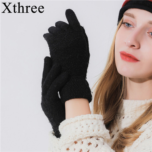 17cb0f2b5 Winter Autumn Women Knitted Gloves Screen High Quality Male Thicken Warm  Wool Cashmere Solid Gloves Girl
