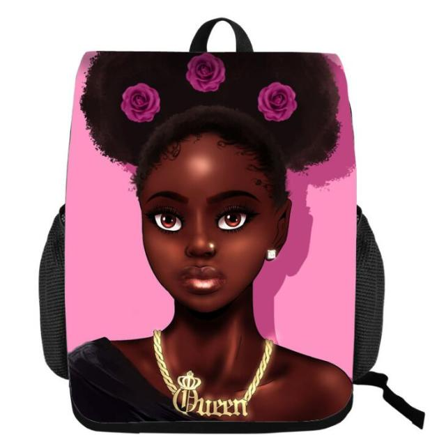 Black Queen African American Girl School Bags for Teenagers