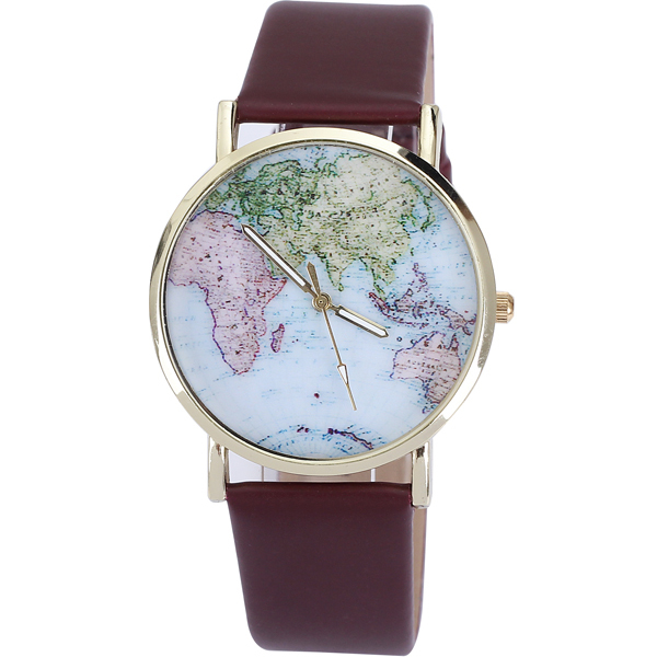 Urban Outfitters World Map Watch.Women Rose Gold Plated Outer Ring Imitation Leather Watches Fashion