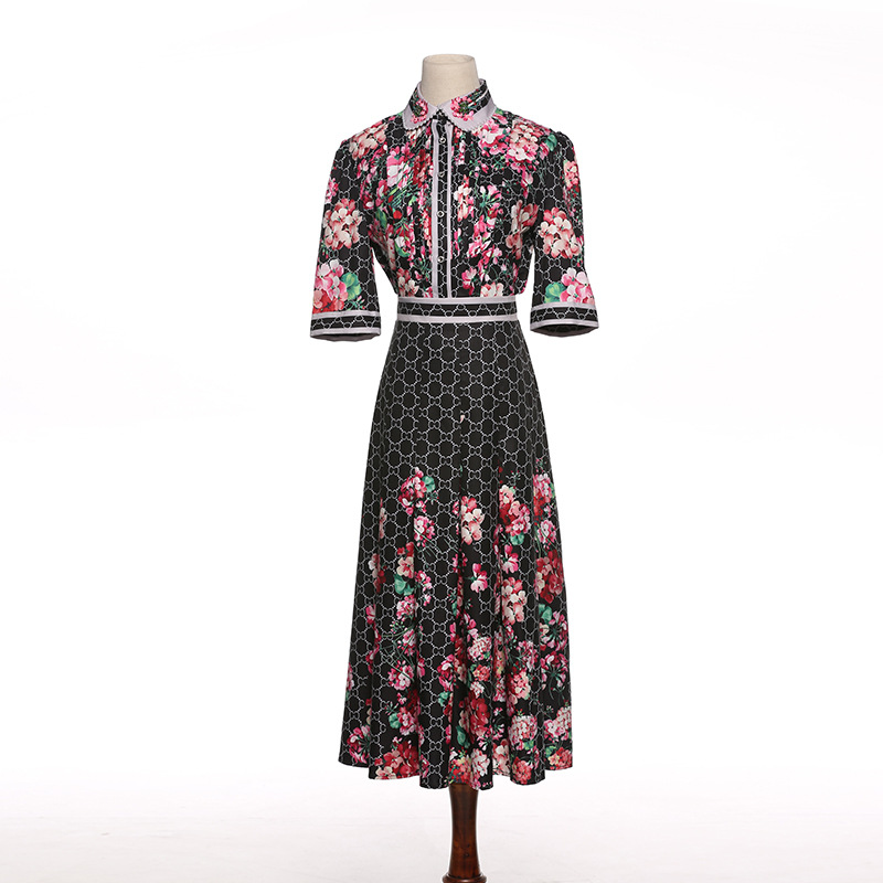 High Quality Fashion Runway Suit Set Women's Bow Collar Sequined Floral Print Blouse and Casual Skirts Vintage Twinset B766