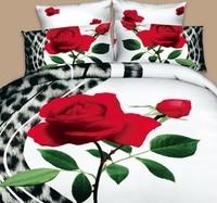 3d עלה שמיכת סט מצעי הדפסת פרח שחור נמר אדום כיסוי כיסוי מיטה זוגית מלכת קינג סייז סדין למיטה מצויד קליפורניה 5 יחידות