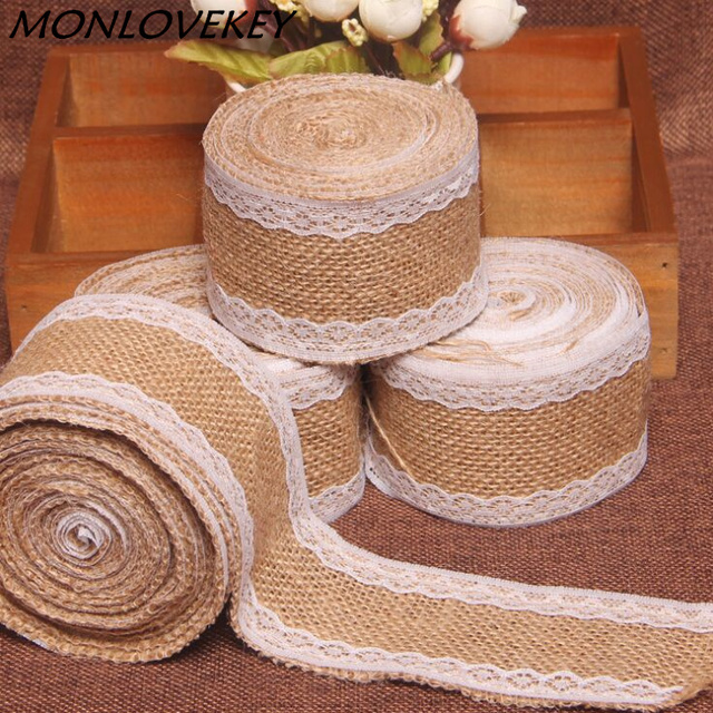 2meters Natural Jute Burlap Hessian Ribbon With Lace Roll Trims Tape