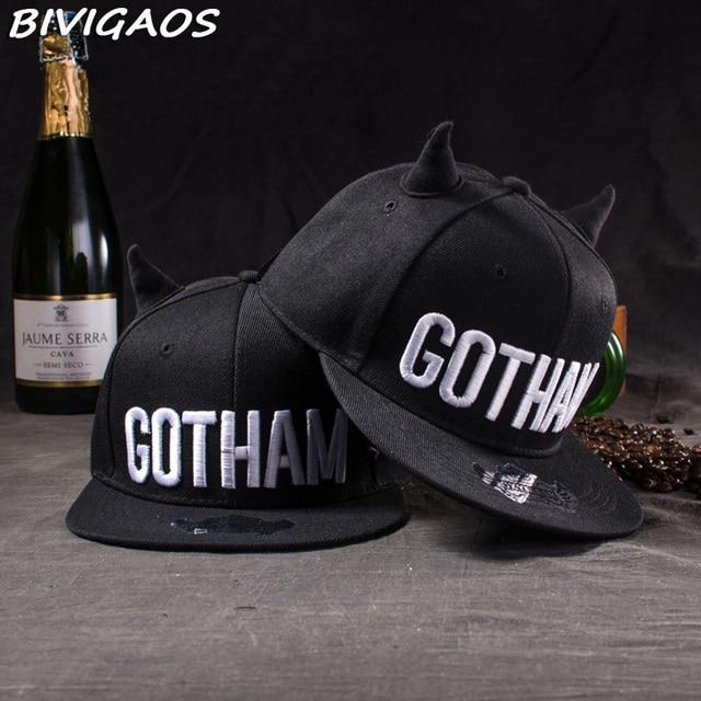 ac4009cb564 2016 New Fashion Womens Cute GOTHAM Black Devil Horns Snapback Hats Hip Hop  Cap Female Baseball Caps Bones Gorras For Men Women