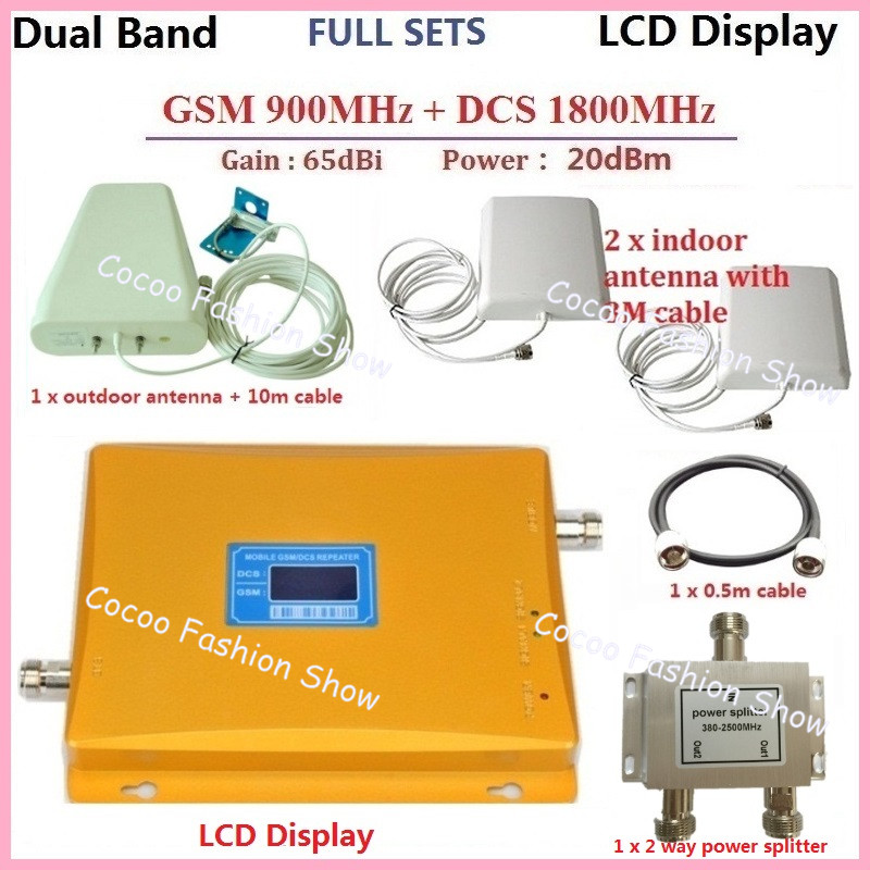 LCD Display !GSM Repeater 1800 + 900MHZ Dual Band Mobile Phone Signal Booster Repeater Amplifier +GSM 3G Antennas For 2 Homes