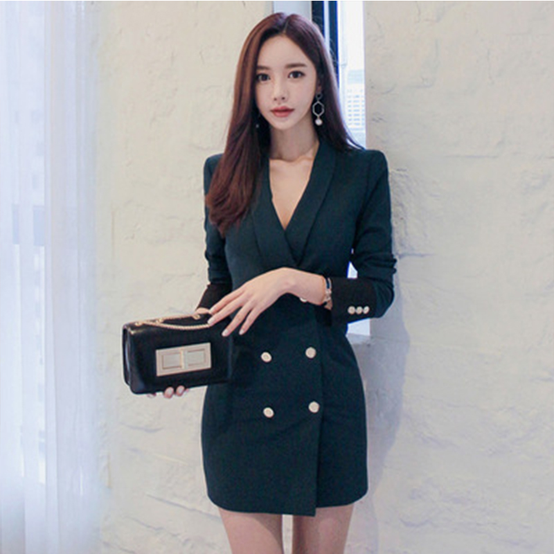 Women suit dress 2019 women s new style double breasted color combination self cultivation OL professional