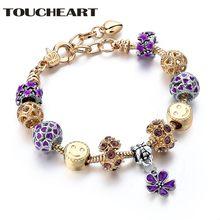 Женский браслет с фиолетовым цветком toucheart модный Европейский