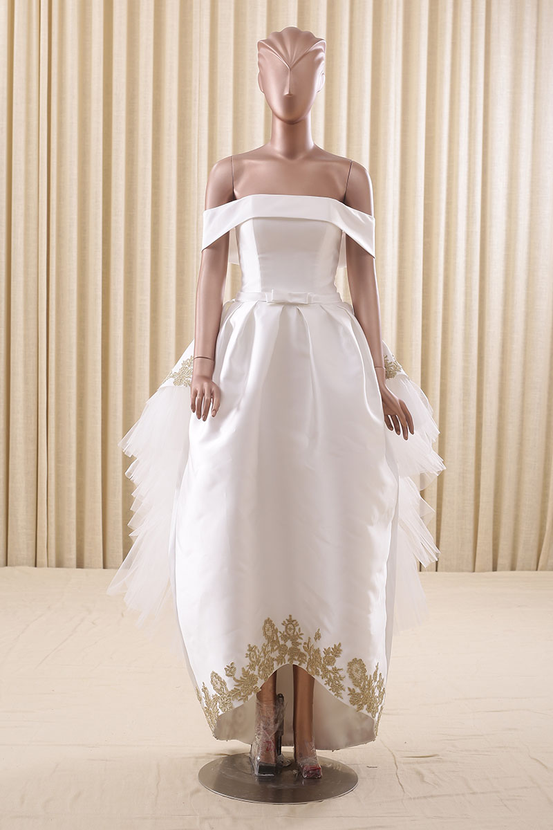 White And Gold 2016 High Low Short Front Long Back Wedding Dresses Lace Appliques Bridal Gowns Off The Shoulder Laceup Closure: Short Gold Lace Wedding Dresses At Reisefeber.org