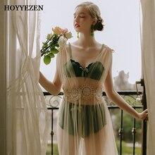 HOYYEZEN new sexy female Perspective lace deep V waist lace button natural skirt lady sexy temptation sleepwear set