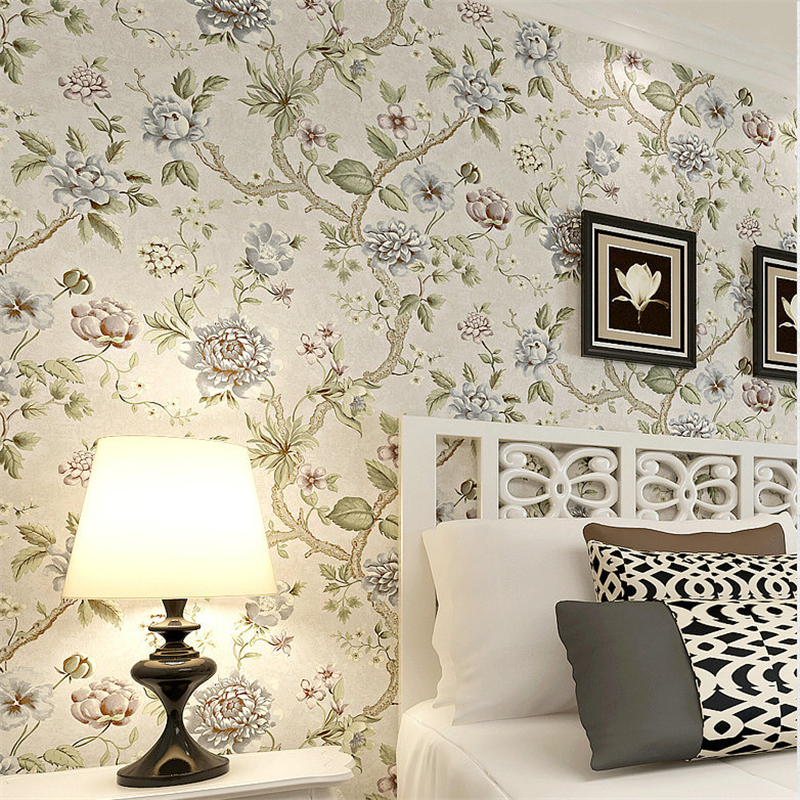 beibehang Personalized warm non - woven wallpaper pastoral flower bedroom living room sofa background wallpaper genuine special non woven bubble butterfly wallpaper design modern pastoral flock 3d circle wall paper for living room background walls 10m roll