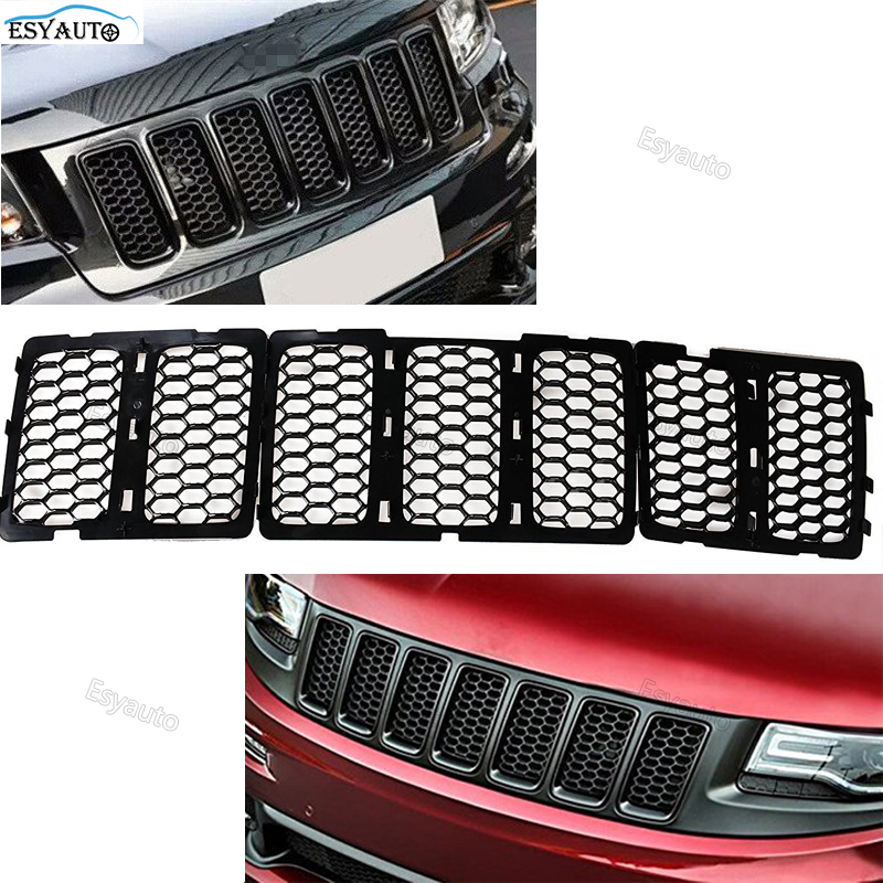 Car Styling Honeycomb Matte Mesh Front Grill Grille Inserts Cover Kit 7 Pcs For Jeep Grand Cherokee (Black)