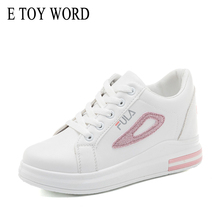 E TOY WORD Women Sneakers Fashion Breathabl height increasing Lace Up Shoes Tenis Feminino Casual