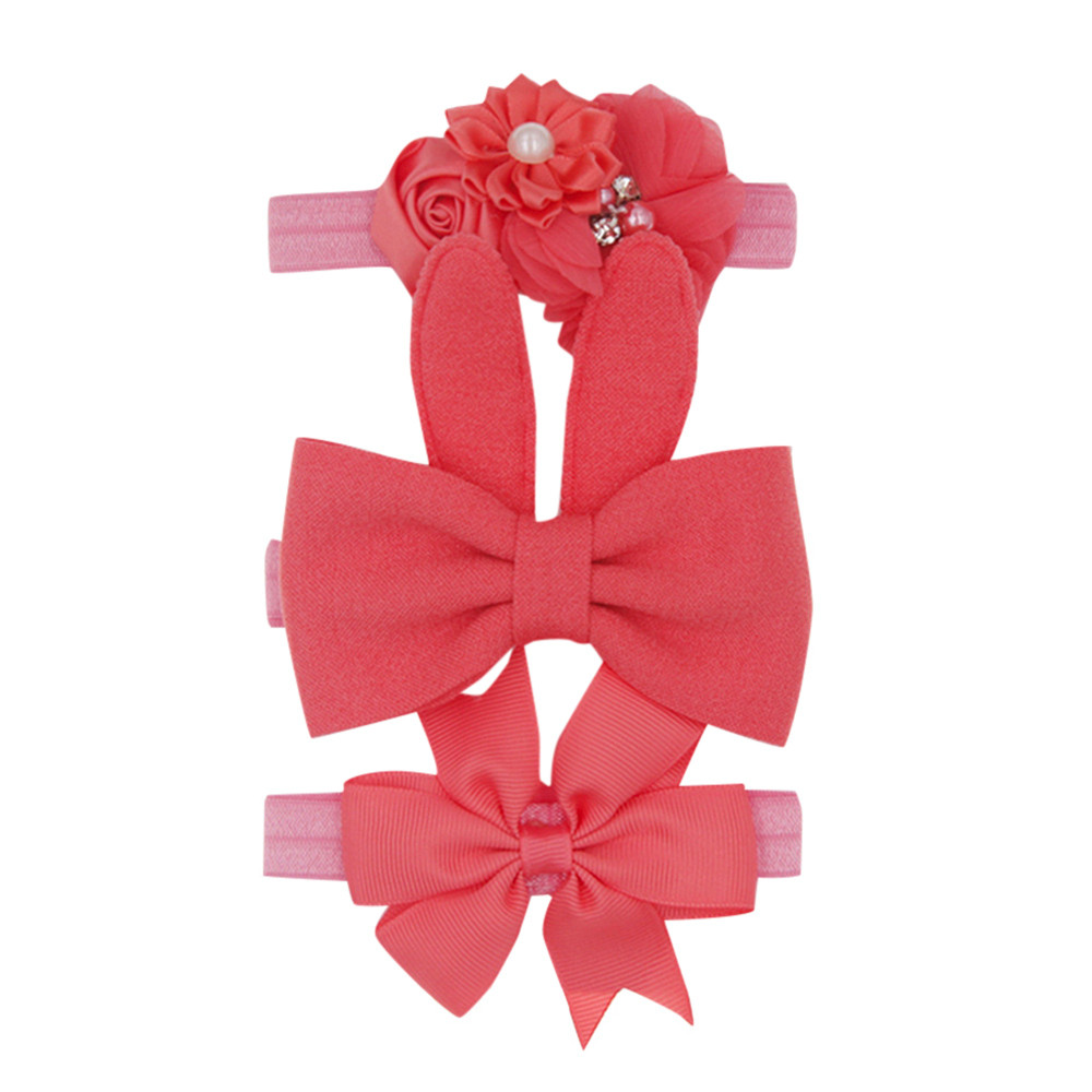 Telotuny Baby Care Baby Hair Accessories Fashion Casual 3Pcs Childrens Simple Flowers Bunny Ear Bow Hair Band Trio Set JU 22
