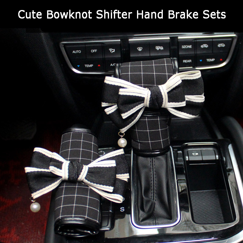 New Bowknot Car Handbrake Cover Gear Shifter Knob Cover Classic Plaid Auto Hand Brake Cover Car Accessories For Women Girls