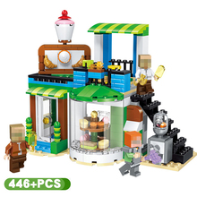 446pcs Seaside Leisure Resort Building Blocks My World Minecrafted Village Figures Bricks Toys For Children qunlong 649pcs my world volcanic detection minecrafted model figures building blocks enlighten diy brick toys for children 0523