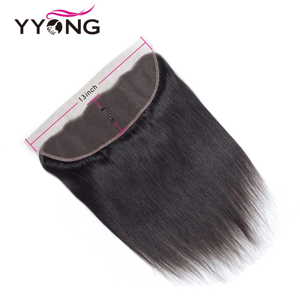 YYong  Straight Hair 4 Bundles With Frontal 100%  With 13*4 Free Middle Part Ear To Ear Lace Frontal  6