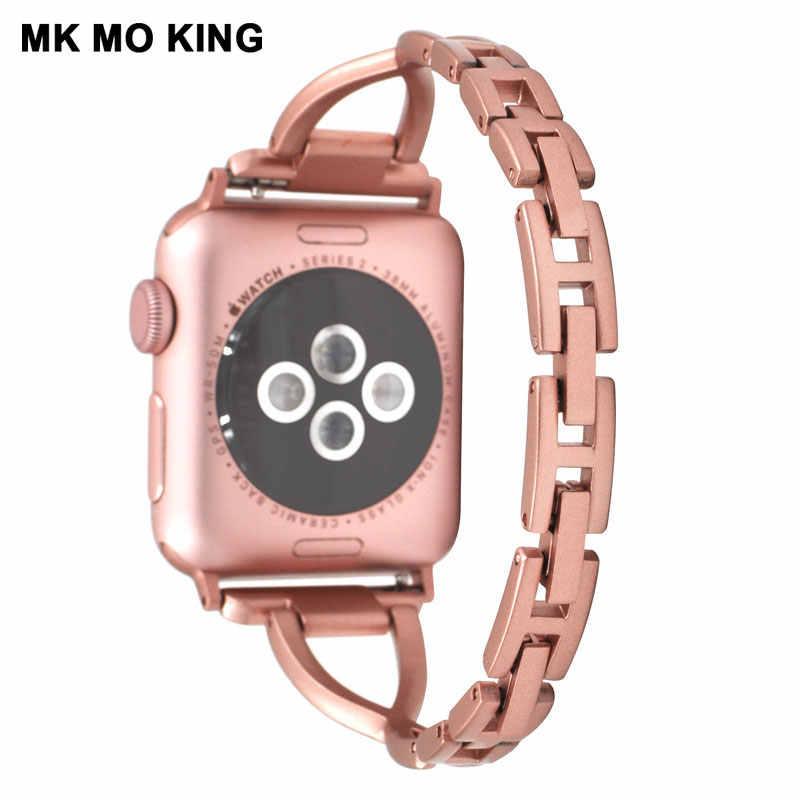 高級ブランドステンレス鋼ラッチセットドリルストラップため apple 役割男性 x iwatch 3 4 女性の時計バンドスマートブレスレット