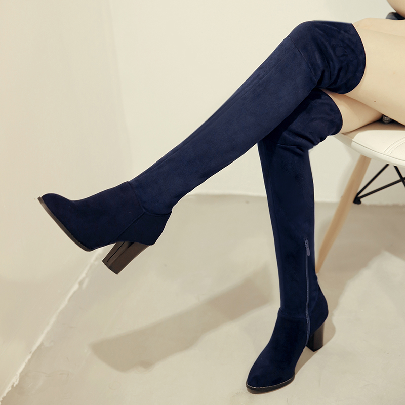 Faux Suede Sexy Thigh High Boots Women Over The Knee Boots Ladies Autumn Spring High Heels Boots Shoes Black Blue Red Size 35-43 2018 female sexy slim thigh high boots faux suede leather high heels women over the knee shoes plus size 34 43