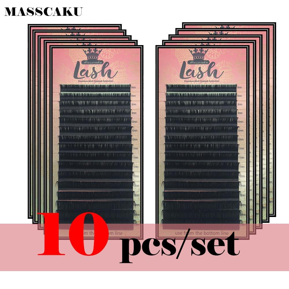 10 Cases/lot B C D Curl Cilia Natural Individual Eyelash Extensions Make Up Tools Faux Premium Mink False Eyelash Luxurious Box