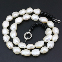 Fashion Statement Women Choker Necklace Natural Freshwater Pearl Jewelry Irregular 10 12mm Beads Strand Necklaces 18inch