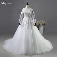 ZJ9038 Flower White Ivory gown Wedding Dresses flower with long sleeve Bridal Dress plus size 2 4 6 8 10 12 14 16 18 20 22 24