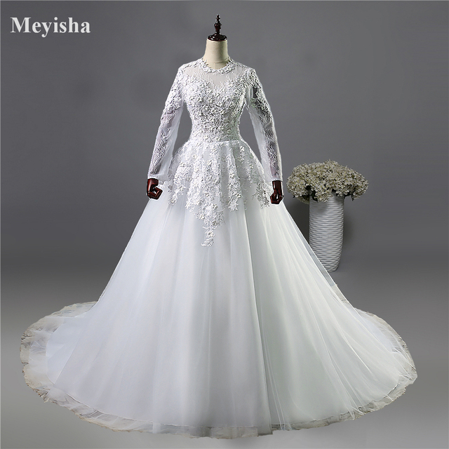 US $86.39 28% OFF|Aliexpress.com : Buy ZJ9038 Flower White Ivory gown  Wedding Dresses flower with long sleeve Bridal Dress plus size 2 4 6 8 10  12 14 ...