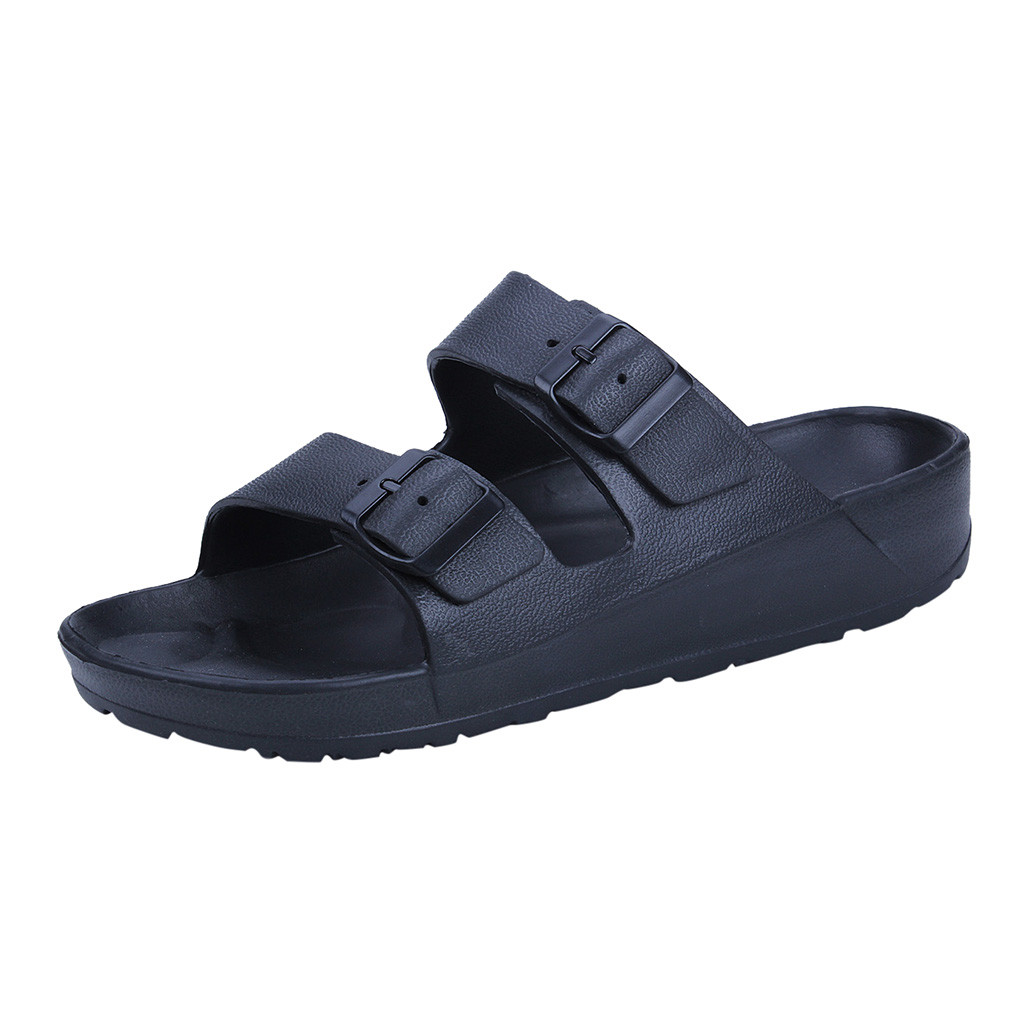 SAGACE 2019 New Men's Fashion Wear Flat Comfortable Beach Shoes Ultra Light Double Buckle Sandals Zapatos Hombre Claquette(China)