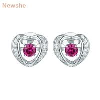 Newshe Heart Shape Red Dancing AAA Zirconia 925 Sterling Silver Stub Earrings For Women Cute Romantic Jewelry GE11838A