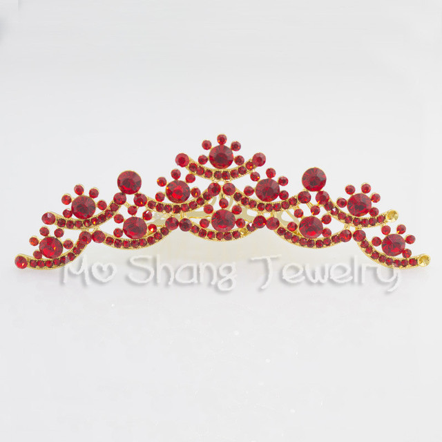 Free Shipping Princess Crown Charm Tiara White or Red Rhinestone Crown  Silver Plated Hair Combs Jewelry e55071496b02