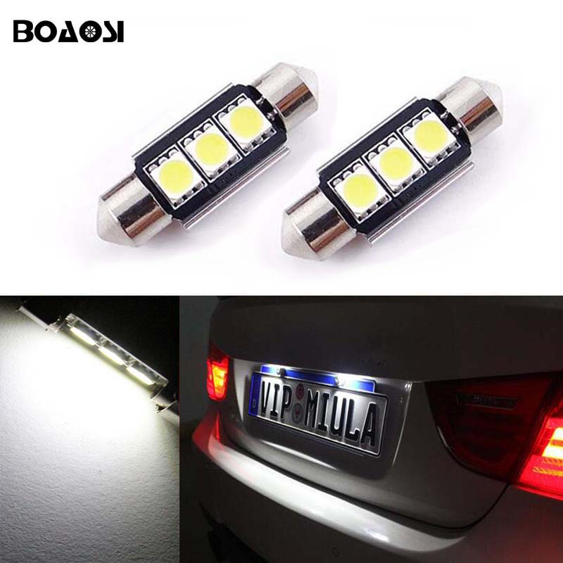 BOAOSI For BMW VW Volvo Kia Sportage Cerato Dome Festoon 5050SMD Feilfri Bright White LED License Number Plate Light 2st