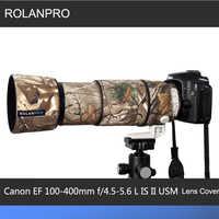 Rolanpro lente camuflagem casaco capa de chuva para canon ef 100-400mm f4.5-5.6 l é ii usm lente manga protetora armas caso ao ar livre
