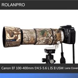 Линзы rolanpro камуфляжное пальто дождевик для Canon EF 100-400 мм f4.5-5,6 L IS II USM объектив защитный рукав пистолеты чехол для улицы