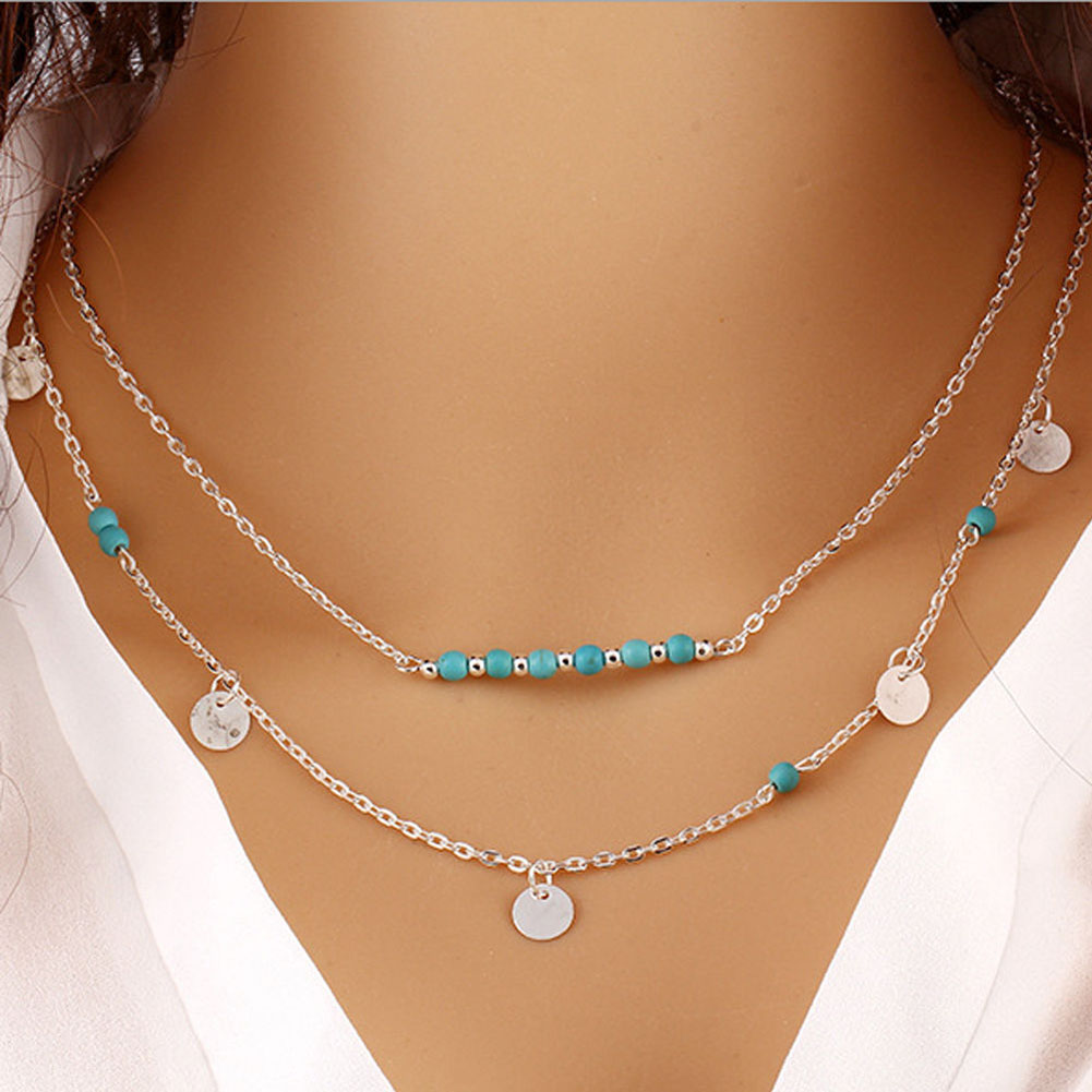 hot sales double chain turquoise beads sequins necklace best gift simple gold and silver plated necklace choker