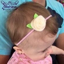 Nishine 20pcs/lot 20 Colors Girl Elastic Headband Felt Rose Flower Leaf Head Band Cute Kids Newborn Photography Props